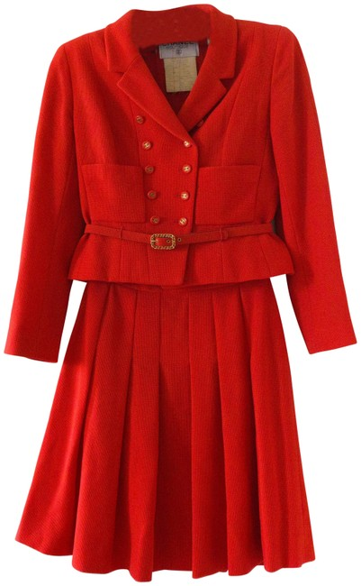 Item - Red Rare Vintage 95p Timeless Parisian Belted Skirt Suit Size 6 (S)