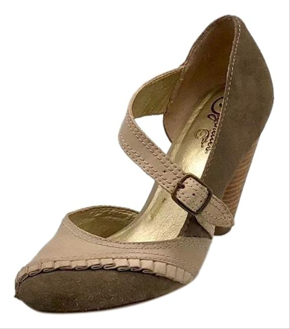 Item - Tan Neutral Suede & Leather Mary Jane Pumps Size US 7.5 Regular (M, B)