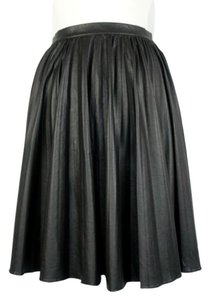 Lavender Brown Faux Leather Pleated Fall Mini Skirt Black
