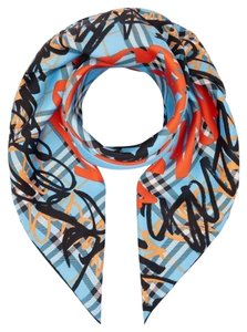 Burberry Blue and Red Scribble Print Scarf