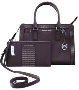 Michael Kors Dillon Crossbody Strap Electric Blue Medium Leather Satchel in merlot