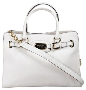 Michael Kors Mk Large Hamilton Pebbled Leather Purse Mk Tote in Vanilla White Cream/Gold