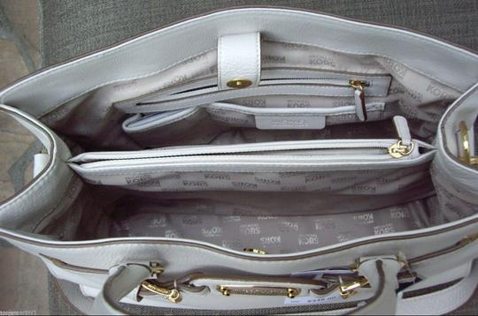 Michael Kors Mk Large Hamilton Pebbled Leather Purse Mk Tote in Vanilla White Cream/Gold Image 1