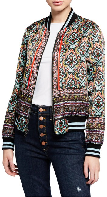 Item - Multicolor Lonnie Reversible Basketball Bomber Paisley and Eye Print Jacket Size 4 (S)