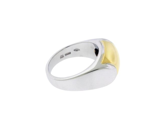 Item - White & Yellow Gold An007732 Tronchetto Logo In 18k 2 Tone Ring