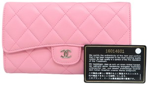 Chanel Pink Lambskin Quilted Trifold Wallet