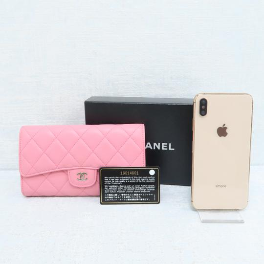 Chanel Pink Lambskin Quilted Trifold Wallet Image 1