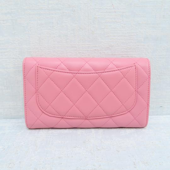 Chanel Pink Lambskin Quilted Trifold Wallet Image 2