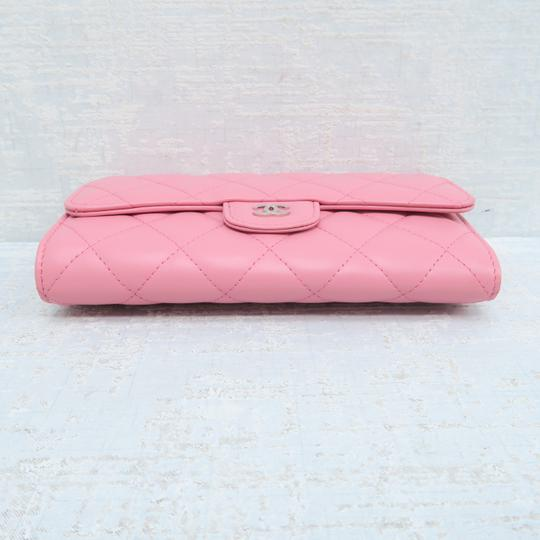 Chanel Pink Lambskin Quilted Trifold Wallet Image 3