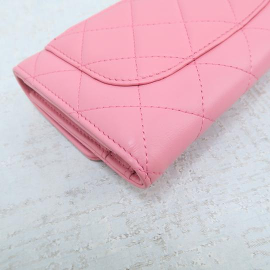 Chanel Pink Lambskin Quilted Trifold Wallet Image 4
