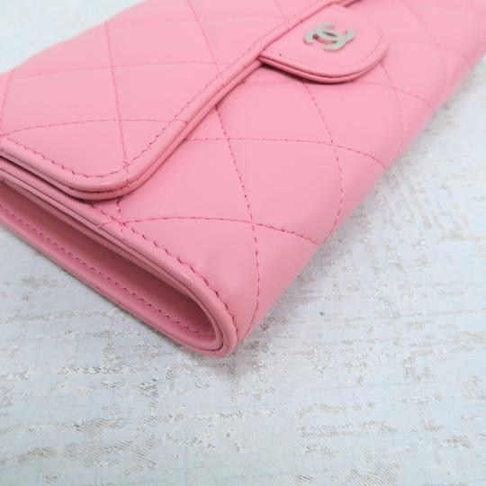 Chanel Pink Lambskin Quilted Trifold Wallet Image 6