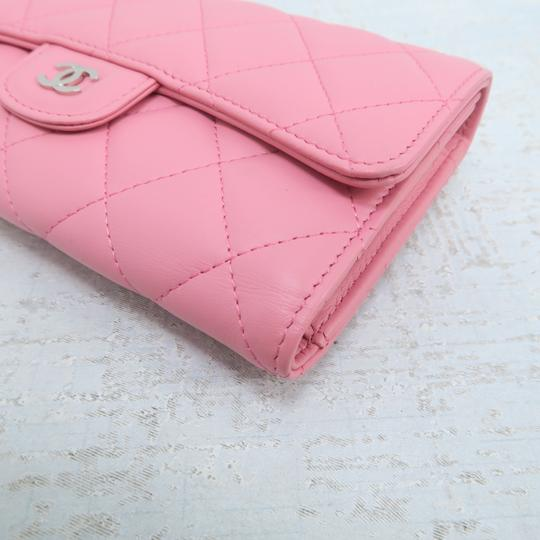 Chanel Pink Lambskin Quilted Trifold Wallet Image 7