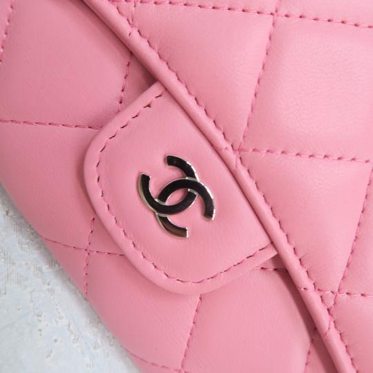 Chanel Pink Lambskin Quilted Trifold Wallet Image 8