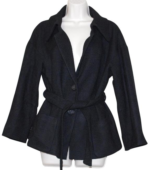Preload https://img-static.tradesy.com/item/26297899/rene-lezard-black-wool-blend-women-s-belted-jacket-size-6-s-0-1-650-650.jpg
