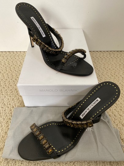 Manolo Blahnik Leather Open Toe Crystal Sandal Black Pumps Image 1
