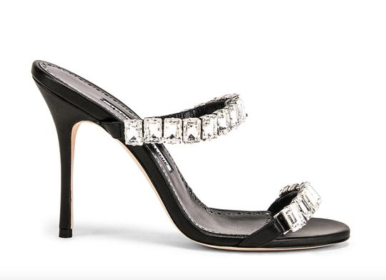 Manolo Blahnik Leather Open Toe Crystal Sandal Black Pumps Image 11