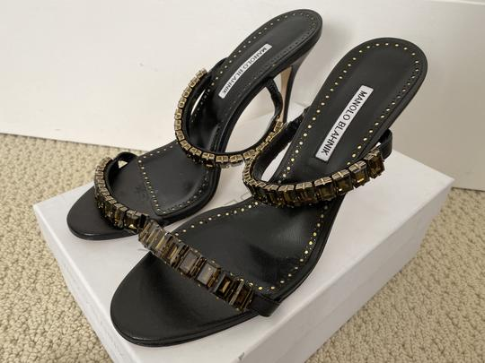 Manolo Blahnik Leather Open Toe Crystal Sandal Black Pumps Image 2