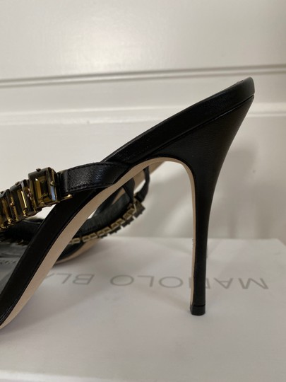 Manolo Blahnik Leather Open Toe Crystal Sandal Black Pumps Image 3