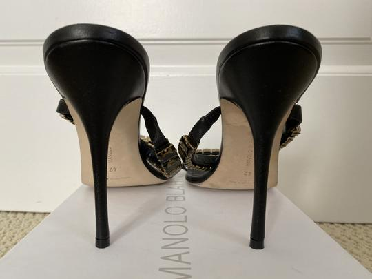 Manolo Blahnik Leather Open Toe Crystal Sandal Black Pumps Image 4