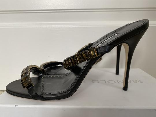 Manolo Blahnik Leather Open Toe Crystal Sandal Black Pumps Image 6