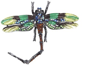 Other Large Dragonfly Brooch or Pendant Insect Jewelry Green Rhinestone