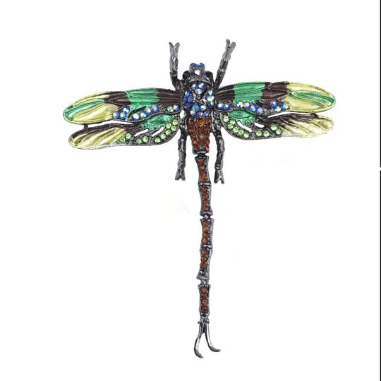 Other Large Dragonfly Brooch or Pendant Insect Jewelry Green Rhinestone Image 1