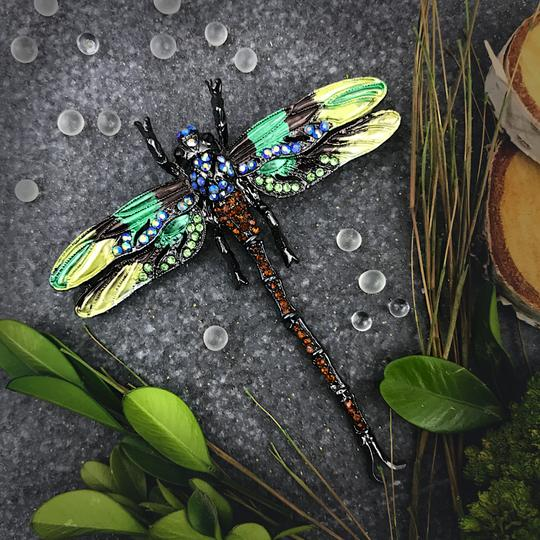Other Large Dragonfly Brooch or Pendant Insect Jewelry Green Rhinestone Image 2