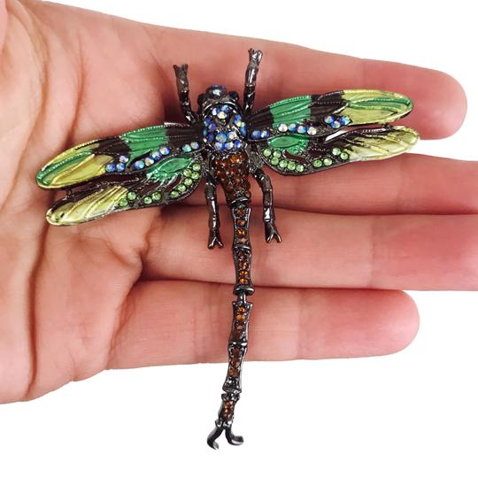 Other Large Dragonfly Brooch or Pendant Insect Jewelry Green Rhinestone Image 3
