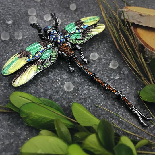 Other Large Dragonfly Brooch or Pendant Insect Jewelry Green Rhinestone Image 4
