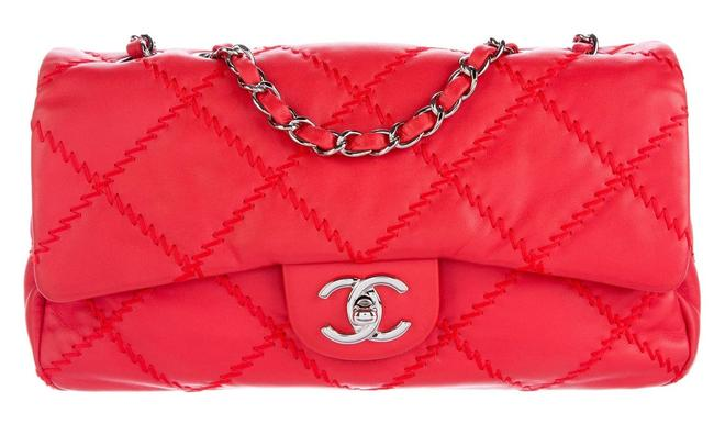 Item - Classic Flap Crossbody Ultimate Wild Stitch Quilted Medium Large Cross Red Coral Orange Lambskin Leather Shoulder Bag