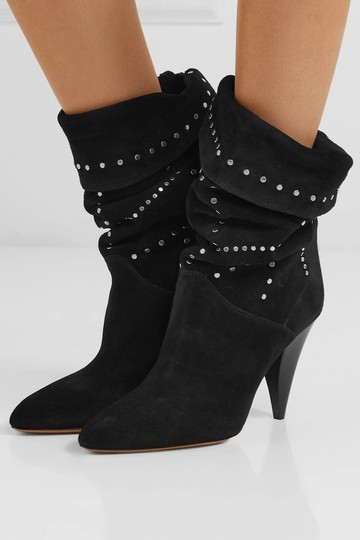 Isabel Marant Suede Pointed Toe Studded Black Boots Image 1