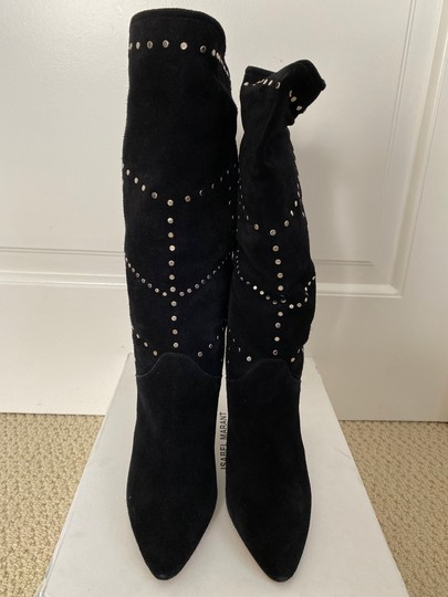 Isabel Marant Suede Pointed Toe Studded Black Boots Image 11