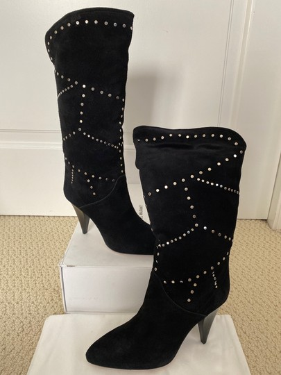 Isabel Marant Suede Pointed Toe Studded Black Boots Image 2
