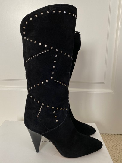 Isabel Marant Suede Pointed Toe Studded Black Boots Image 3