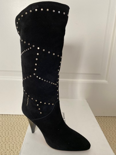 Isabel Marant Suede Pointed Toe Studded Black Boots Image 4