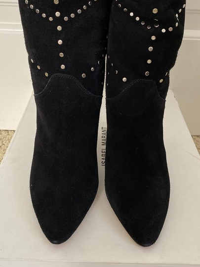 Isabel Marant Suede Pointed Toe Studded Black Boots Image 9