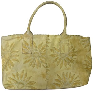 Falor Leather Tooled Embossed Tote in yellow
