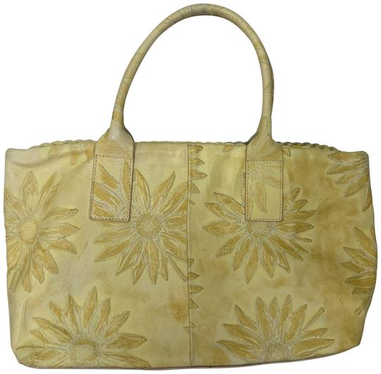 Falor Leather Tooled Embossed Tote in yellow Image 0