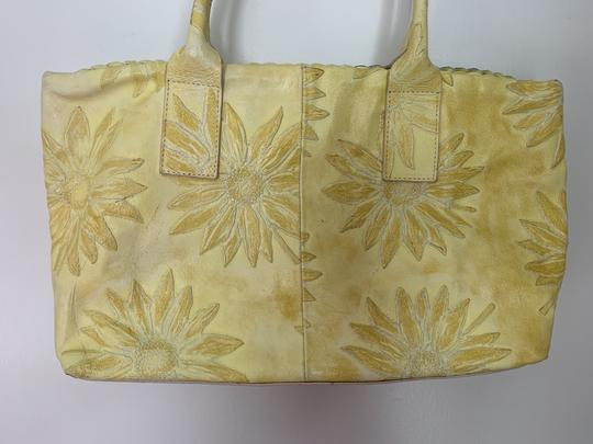 Falor Leather Tooled Embossed Tote in yellow Image 1