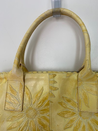 Falor Leather Tooled Embossed Tote in yellow Image 2