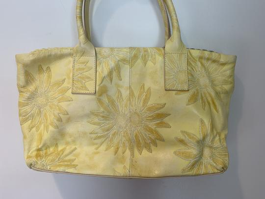 Falor Leather Tooled Embossed Tote in yellow Image 3