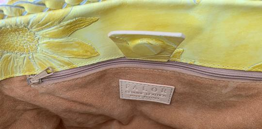 Falor Leather Tooled Embossed Tote in yellow Image 6