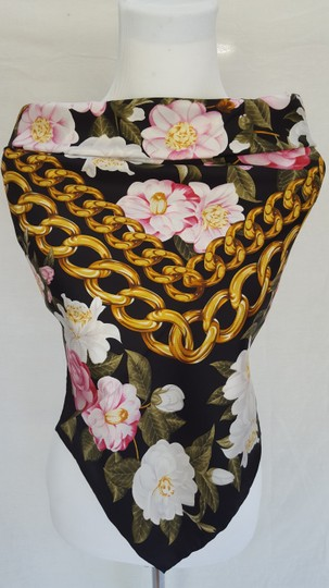 Chanel Vintage 100% real Silk Camellia Floral Pink Chain Square scarf 35 X35 Image 1