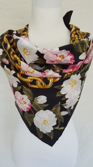 Chanel Vintage 100% real Silk Camellia Floral Pink Chain Square scarf 35 X35 Image 2