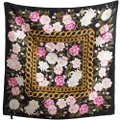 Chanel Vintage 100% real Silk Camellia Floral Pink Chain Square scarf 35 X35 Image 3