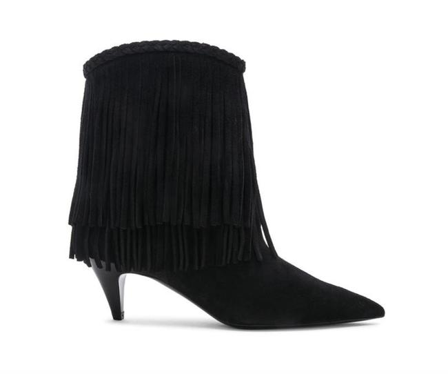 Item - Black Charlotte Suede Fringed Suede Pointed Boots/Booties Size EU 37.5 (Approx. US 7.5) Regular (M, B)