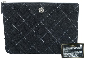 Chanel Quilted Pouch Lambskin Black Clutch