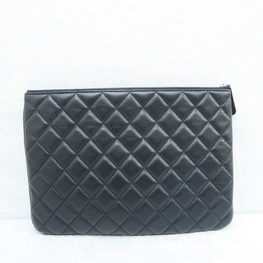 Chanel Quilted Pouch Lambskin Black Clutch Image 2