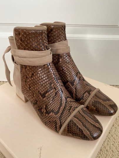Alexandre Birman Snakeskin Suede Leather Brown Boots Image 1