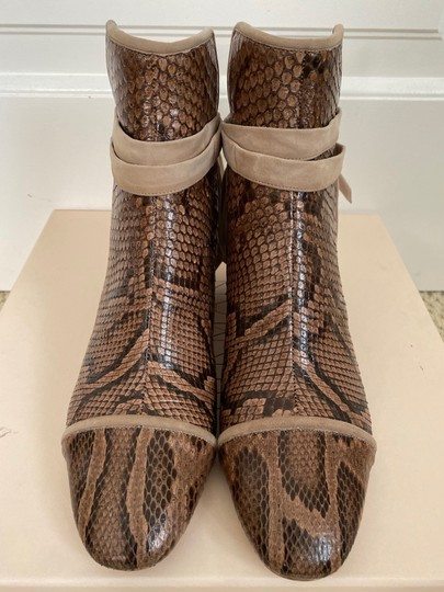 Alexandre Birman Snakeskin Suede Leather Brown Boots Image 3